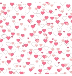 Bright pink red hearts seamless pattern on white vector image vector image
