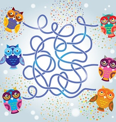 funny owls labyrinth game for Preschool Children vector image