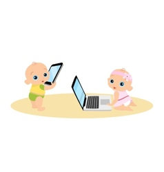 Little girl and boy are playing with laptop and vector image