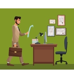 Man standing office space desk chair diploma vector