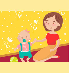 mom playing ball with her little baby son photo vector image