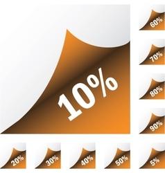 Orange paper sickers with discount vector image