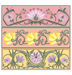 set of art nouveau borders vector image vector image