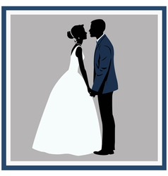 Silhouette Wedding couple in love vector image vector image