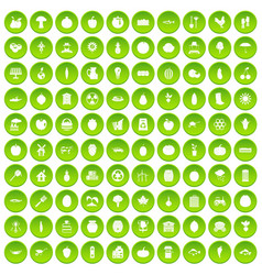 100 viral marketing icons set green circle vector