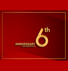 6 anniversary celebration logotype golden color vector