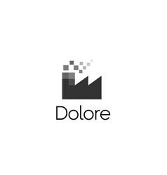 abstract pixel factory logo icon design modern vector image