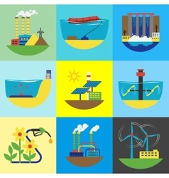 Alternative energy source set vector image