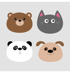 Animal head set Cartoon kawaii baby bear cat dog vector