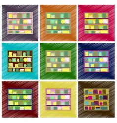 Assembly flat shading style icons bookshelf vector