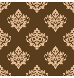Beige colored on brown floral arabesque seamless vector image vector image
