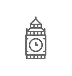 big ben united kingdom landmark line icon vector image