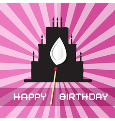 Birthday Background with Cake Silhouette vector image