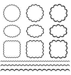 black hand drawn scallop frame and border patterns vector image