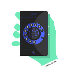 black smartphone with a blue interface vector image