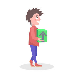 Boy buying robot toy in store flat icon vector