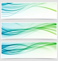 Bright eco swoosh line header web set vector image
