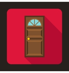Brown door with an arched glass icon vector image