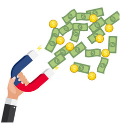 business concept of hand hold magnet attract money vector image
