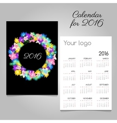 Calendar 2016 with a colorful wreath flowers vector