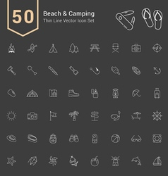Camping and Beach Thin Icon Set vector image