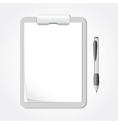 Clipboard with Sheets of Paper and a Pen vector image
