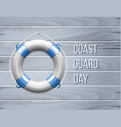 Coast guard day greeting card with life buoy vector