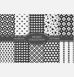 collection of hearts seamless patterns happy vector image