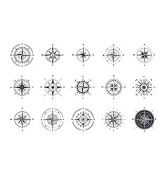 Compass icons wind rose with north orientation vector