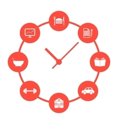 Concept of daily routine with red simple watches vector
