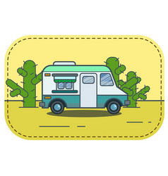 cute retro food truck in desert in vector image