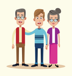 Dad with grandfather and grandmother relation vector