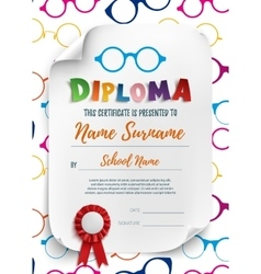 Diploma template for kids with reading glasses vector image