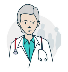 Doctor standing with a stethoscope vector