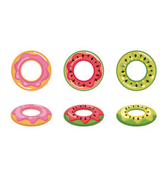 donut watermelon and pineapple float set vector image