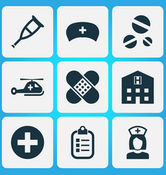 Drug icons set collection cap nanny cure and vector
