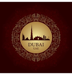 Dubai skyline silhouette on vintage background vector image