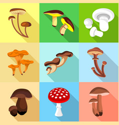 Edible and inedible mushroom icons set flat style vector