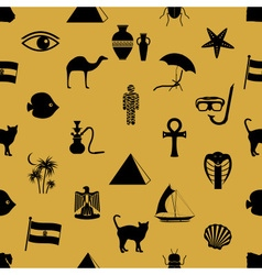 egypt country theme symbols icons seamless pattern vector image