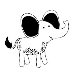 elephant cartoon in black dotted silhouette vector image