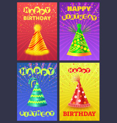 festive cone cap happy birthday postcard vector image