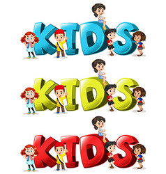 Font design for word kids in three colors vector image