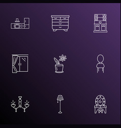 furniture icons line style set with drawer unit vector image
