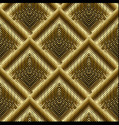 gold 3d halftone tiled rhombus seamless pattern vector image