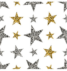 gold and silver stars on white background vector image
