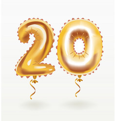 golden number 20 twenty metallic balloon vector image