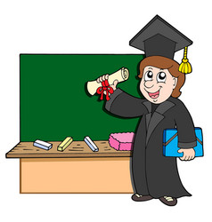 graduate student with blackboard vector image