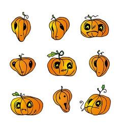 Halloween Pumpkins pack vector image