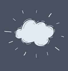 hand drawn cloud on dark background vector image