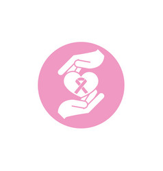 hands holding heart ribbon breast cancer awareness vector image